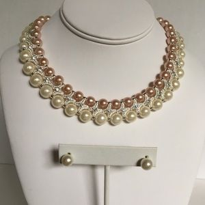 NWT Pearl Necklace and Earring Set